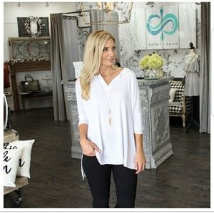 NEW White Ribbed Soft Knit Dolman Tunic